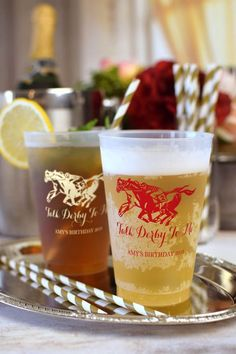 Style your Kentucky Derby birthday with these custom printed cups.  Great for serving up some sweet tea or beer. These 20 oz cups are also great for any milestone birthday party, custom printed with a design and message.  The ideal guest souvenir idea for a 21st, 30th, 40th, 50th, and beyond.  To order, visit http://www.tippytoad.com/20-oz-frosted-flex-plastic-adult-birthday-cups.asp