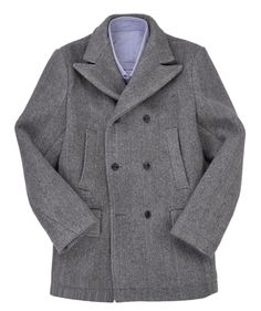 Luxire Sky fall Bond style Wool Peacoat: http://custom.luxire.com/products/luxire-wool-peacoat  Constructed in Wool-Cashmere Grey Herringbone 30 Oz with black horn buttons.  Consists of 2 slant warmer pockets and 2 hip pockets with flap.