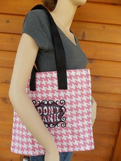 Don't panic embroidered handmade shopping tote