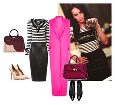 s6 striped and pink by svetlanachaplygina on Polyvore featuring polyvore, fashion, style, Proenza Schouler, MSGM, Dorothy Perkins, Yves Saint Laurent, Salvatore Ferragamo and Linea by Louis Dell'Olio