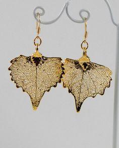 24K Gold Real Cottonwood Leaf Earrings by MaryMorrisJewelry, $28.00 #24K #gold #leaf