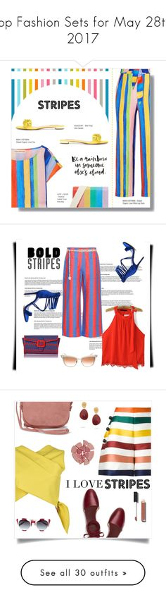 """Top Fashion Sets for May 28th, 2017"" by polyvore ❤ liked on Polyvore featuring Mara Hoffman, Aquazzura, Alice + Olivia, Tommy Hilfiger, ASOS, L.K.Bennett, Tura, stripedpants, Carolina Herrera and MSGM"