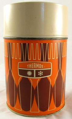 Vintage King-Seely THERMOS Wide-Mouth Vacuum 10-oz Fork & Spoon orange brown