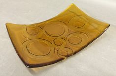 Fused Glass Amber Kiln Carved dish