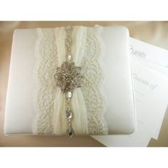 Charming Lace Guest Book $80.00