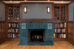 Craftsman Tile, Craftsman Fireplace, Fireplace Built Ins, Brick Fireplace, Fireplace Surrounds, Fireplace Design, Fireplace Ideas, Craftsman Homes, Glass Tile Fireplace
