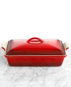 "Le Creuset Heritage Stoneware 12"" x 9"" Covered Rectangular Baking Dish - Bakeware - Kitchen - Macy's"