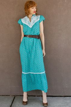 Vintage Calico Maxi Summer Dress~