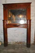 Antique Oak Large Scale Carved Fireplace Mantle with Mirror