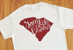 Cheer on USC with this women's Gamecock Country t-shirt! This monogrammed tee features University of South Carolina colors and is personalized with your initials. This top is perfect for football, basketball, or baseball games, whether you're tailgating at Williams Brice or watching at home. This tee would make a great birthday gift or Christmas present for a loyal Cocks fan! Check it out here: https://www.etsy.com/heartfeltsy/listing/528613362