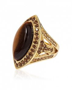 Maja Tiger's Eye and Smoky Topaz Crystal 14k Gold Marquise Cocktail Ring for $11.00 at BaubleBox.com