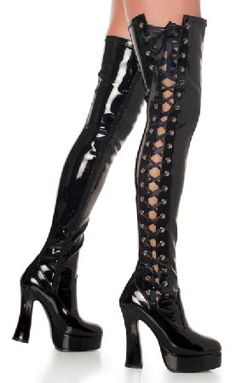 Pleaser Shoes Electra-3050 Black Patent Thigh Thigh-high black patent boots with side zip closure on side for an easy put on, corset-like ribbon lace-up detail on the exterior side for a sexy touch and a good size adjustment and a 5.5 inch (14 cm http://www.MightGet.com/january-2017-12/pleaser-shoes-electra-3050-black-patent-thigh.asp