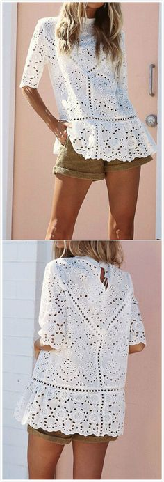 Beautiful white lace top and brown shorts# summer 70s Inspired Fashion, Love Fashion, Fashion Outfits, Womens Fashion, Short Frocks, Fancy Tops, Mode Top, Mein Style, Couture