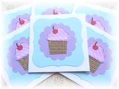Cupcake  Birthday  Mini Note Cards with Envelopes by HeartsCalling