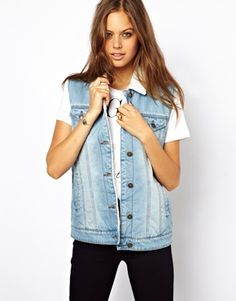 ASOS Denim Gilet in Vintage Wash with Borg Lining and Collar $80, please go on sale!!