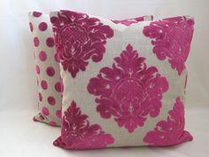 magenta velvet pillows