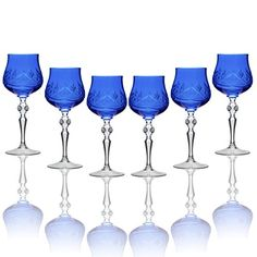 Amazon.com: SET of 6 Handmade Russian CUT Crystal - BLUE Color Old-Fashioned Wine Glasses on a Long Stem, 250ml/8.5oz Crystal Glass Goblets / Tumblers: Kitchen & Dining