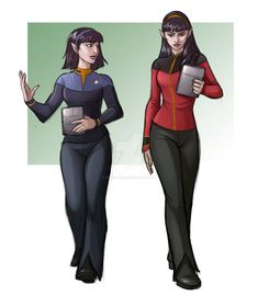 T'var and T'lin by iara-art on DeviantArt Star Trek Games, Star Trek Data, Star Trek Crew, Star Trek Wallpaper, Stark Trek, Starfleet Academy, Star Trek Cosplay, Star Trek Captains, Star Trek Characters