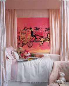 Like the idea of curtaining the walls and around the bed to feel like a canopy