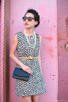 ExtraPetite.com - Flared tweed shift   styling a too-long belt- tying a pretzel knot on a long bely