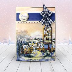 Card created using Hunkydory Crafts' Winter Village Topper Set from the A Christmas Past Topper Collection Christmas Scenes, Christmas Past, Blue Christmas, Christmas Crafts, Christmas Ideas, Kanban Crafts, Hunkydory Crafts, Xmas Cards, Christmas Inspiration