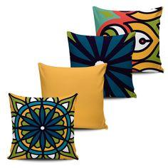 KIT com 4 Almofadas Decorativas Mandala 45x45cm - ALMAND003 - Pano e Arte