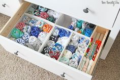 I use the bottom right drawer for 3-6 month clothes I've washed– socks, one piece outfits, pants, pajamas, long-sleeved onesies, short-sleeved onesies, baby legs, and extra bibs.