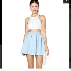 #3405 Nasty Gal Scuba Skater Skirt - Blue Nasty Gal Dresses