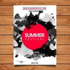 Акварели летний фестиваль плаката Бесплатные векторы