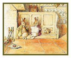 Bunny Rabbit Family Relax by the Fire inspired by Beatrix Potter Counted Cross Stitch Chart
