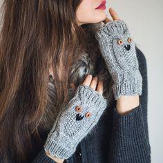 Hand Knit Owl Mittens Winter Fingerless Gloves by NatalieKnit