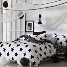 Black and White Star Print Modern Chic Twin, Full, Queen Size ...
