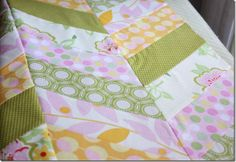 Good super easy Herringbone quilt tutorial. Wish I had read this before I did my first one cause this makes it soooo much easier :)