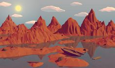 A low poly mountain landscape that I created in Blender. For more detail and my process visit Behance: Low Poly Mountain Landscape Landscape Wallpaper, Nature Wallpaper, Wallpaper S, Screen Wallpaper, Mountain Landscape, Landscape Art, Apple Iphone 6, Iphone 8, Low Poly Games