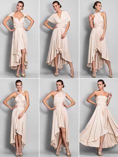 [XmasSale]Bridesmaid Dress Asymmetrical Jersey Sheath Column Convertible Dress (633752) | LightInTheBox