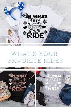 "Oh What Fun it is to Ride is the perfect tee for a Disney Holiday Vacation. This also makes a great gift for ""Disney Ride Loving"" family and friends. Mickey Christmas, Christmas Gifts For Her, Cozy Christmas, Christmas Shirts, Family Christmas, Sassy Shirts, T Shirts For Women, Vinyl Designs, Shirt Designs"