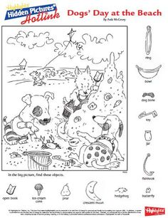 Dogs Day At the Beach Hidden Picture Coloring Page