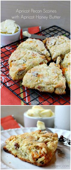 Going to attrmpt this but substitute apples for apricot. Apricot Pecan Scones with Apricot Honey Butter are a delicious nutty twist on breakfast or brunch! Biscotti, Brunch Recipes, Breakfast Recipes, Dessert Recipes, Scone Recipes, Apricot Recipes, Apricot Scones Recipe, Baking Scones, Gourmet