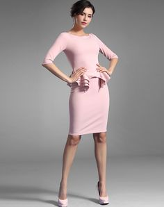 #AdoreWe #VIPme Sheath Dresses - BAOYAN Pink Ruffle Waist Half Sleeve Solid Sheath Midi Dress - AdoreWe.com