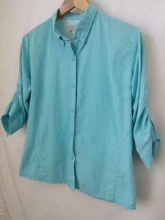 Columbia Nylon Omni Shade Women's Shirt Size Large Blue Seersucker  #Columbia #ShirtsTops #seersucker