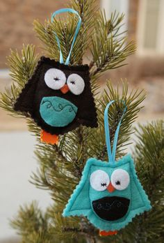 What A Hoot - Felt Owl Ornaments - Set of Two (2) on Etsy, $6.75