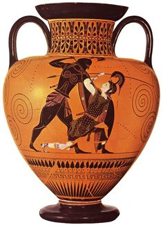 Achilles and Penthesilea. This pottery dates from around 540 BC and is attributed to Exekias, an Ancient Greek vase painter and potter.