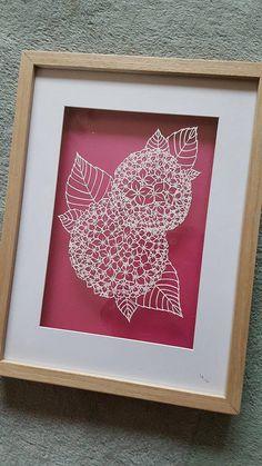 COMMERCIAL USE Hydrangea Papercut Template by NicoleCharlestonArt