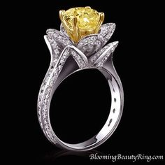 Original Large Blooming Beauty Flower Ring with Fancy Yellow Diamond  #engagementring #BloomingBeautyRing