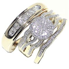 065ct trio wedding set his and her rings set 3 piece 10k yellow gold