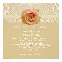 Rose Gold Elegant Lace Damask Wedding Invite