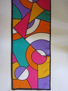 Vintage Bright Geometric Color Block Scarf by VIRGINIA SLIMS Block Painting, Fabric Painting, Art Carte, Abstract Geometric Art, Geometric Shapes, Cubism Art, Watercolor Art, Watercolor Pencils, Pop Art