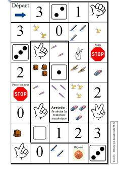 Jeu de l'oie de 0 à 3 Preschool Board Games, Preschool Activities, Speech Language Therapy, Speech And Language, Visual Perception Activities, Act Math, Alternative Education, Teaching Numbers, Number Games