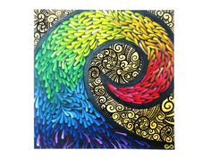 Root of Life - The overall design of the painting resembles the Maori symbol, the Koru. The Koru represents the beginning of a new life and purity to the world. Once again, I decided to use lots of colours to show that the life ahead is an exciting journey. The beginning to the journey is narrow, where parents and help is constantly present to help prepare one for the tougher road ahead, represented by the wider end of the journey. [Aboriginal, Maori]