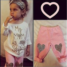 2PCS Fall Peuter Kids Baby Girls Sweet Heart printen Letter Lange Outfits Kleding mouwen T-shirt Tops + Lange Truien 1-5Y
